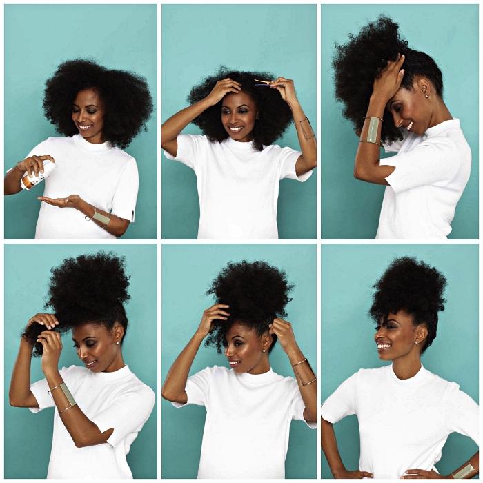 tuto coiffure afro femme pour réaliser un afro puff sur cheveux naturels, idée coiffure facile et rapide pour cheveux naturels