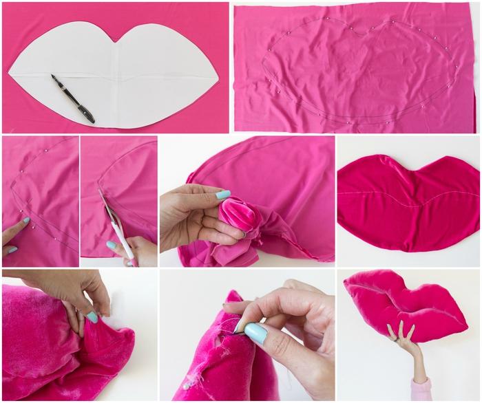 deco chambre à coucher féminine égayée par des accessoires en couleur flashy, comment confectionner un coussins décoratif en velours en forme de lèvres