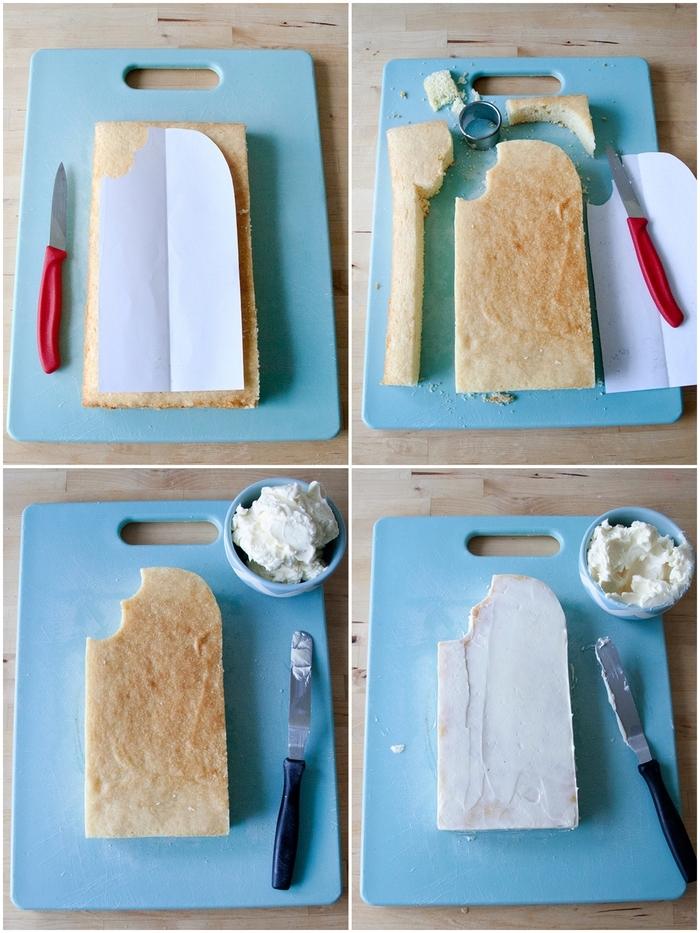 génoise découpée en forme de glace, recouverte de pâte à sucré, deco pate a sucre facile et originale pour réaliser un gâteau bâtonnet glacé