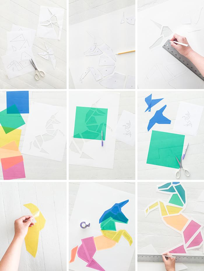comment réaliser un vitrail licorne deco composé de pièces géométriques colorées