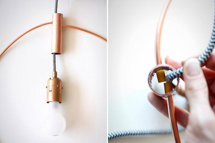 une suspension au design géométrique réalisé en tuyau en cuivre, idées diy pour décorer sa chambre à coucher avec un petit budget