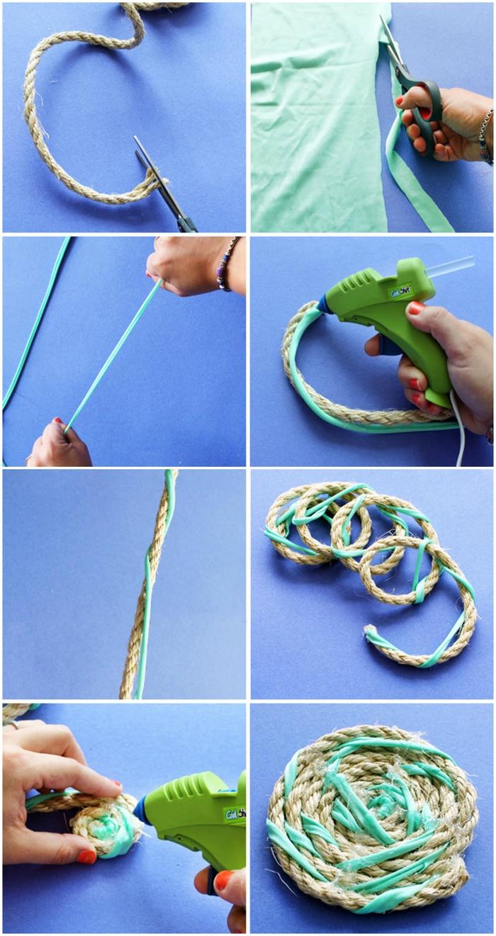 comment faire un tapis facile en corde et tissu recyclé pour donner un coup de frais à la décoration chambre à coucher