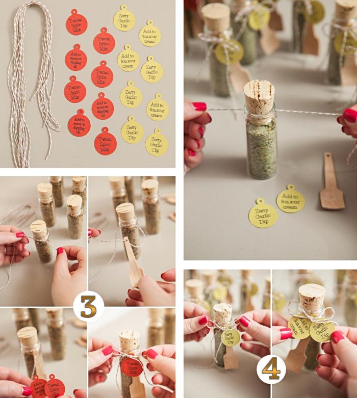 étapes à suivre pour faire un idée cadeau invité mariage DIY original, modèle de bouteille de herbes avec bouchon de liège