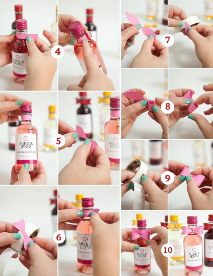 étapes à suivre pour fabriquer une étiquette personnalisée en papier coloré, modèle de mini bouteille de vin rouge et rosé