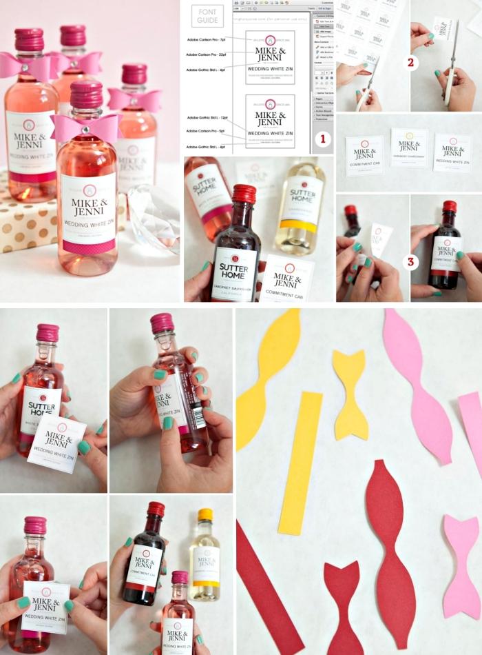 remerciement mariage en forme de mini bouteilles de vin fait main avec étiquette personnalisée en papier coloré