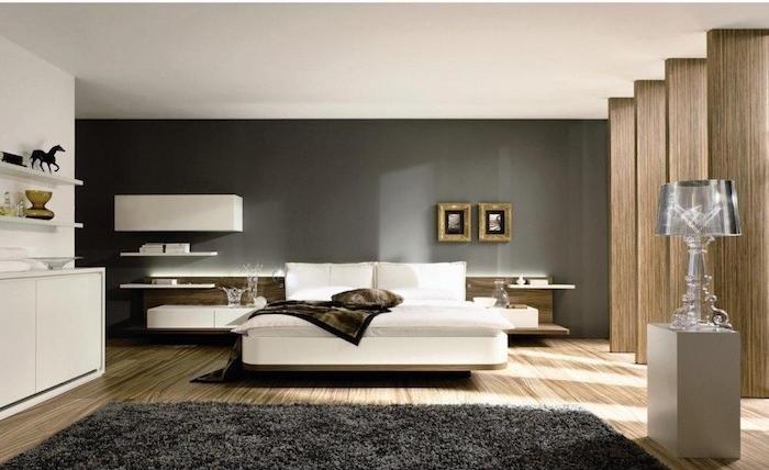 modele de grande chambre pour adultes, idée de décoration pour suite parentale, couleur peinture pour murs de chambre