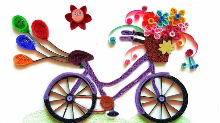 pliage de papier facile, vélo fait en papier, design créatif super artistique et coloré