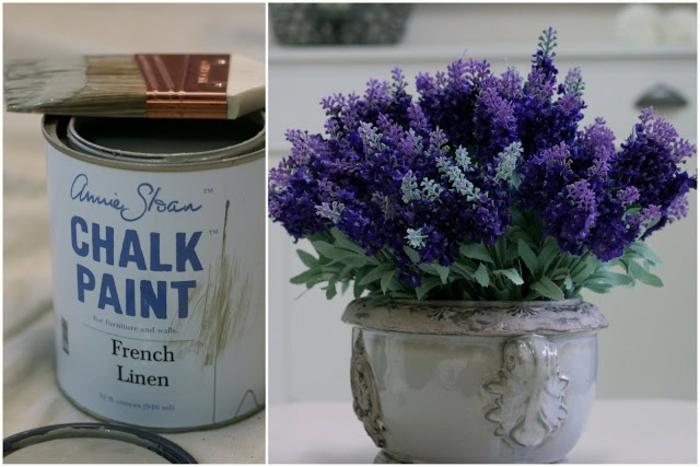 vase ancienne chalk paint, fleurs lilas simples, retaper un meuble ou un objet