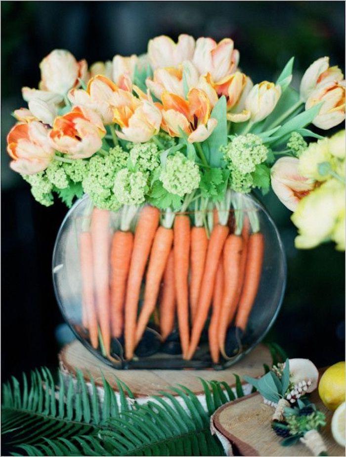 Bricolage de paques idée bricolage paques décoration vase carrots et gleuts
