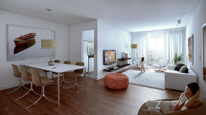 équipement simple et élégant de salon et salle de séjour, petite cuisine isolée, aménagement des petits espaces