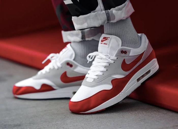 the latest 17557 32a59 nike air max one 1 rouges red og rouge blanc gris comme chaussure homme  tendance