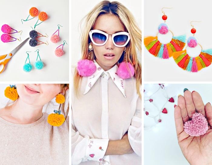 plusieurs bijoux et accessoires femme fait main, boucles d'oreilles à design pompons de laine ou de faux fur colorés