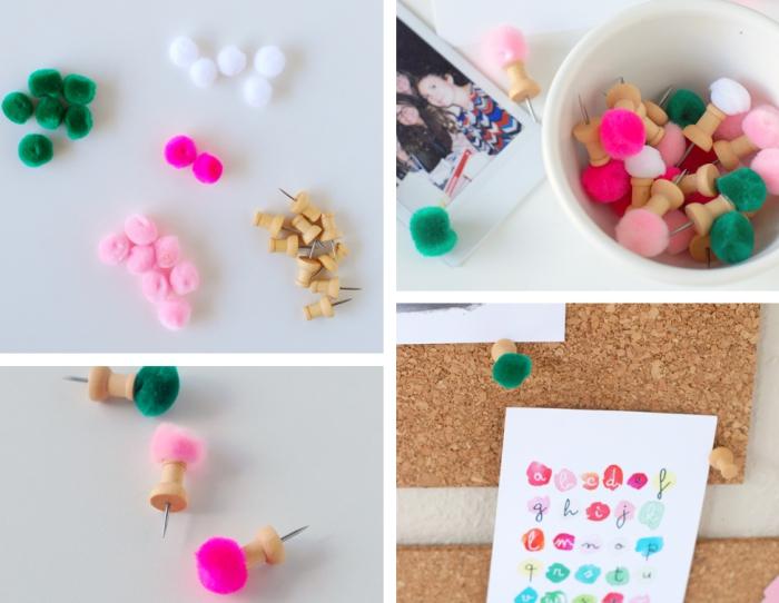 exemple d'activité manuelle facile pour faire des petites punaises pelucheuses pour accrocher ses photos sur les murs