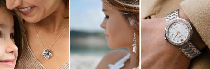 bijoux tendance à offrir à sa maman, modèle de collier en argent, boucles d'oreilles pendantes en perles blanches