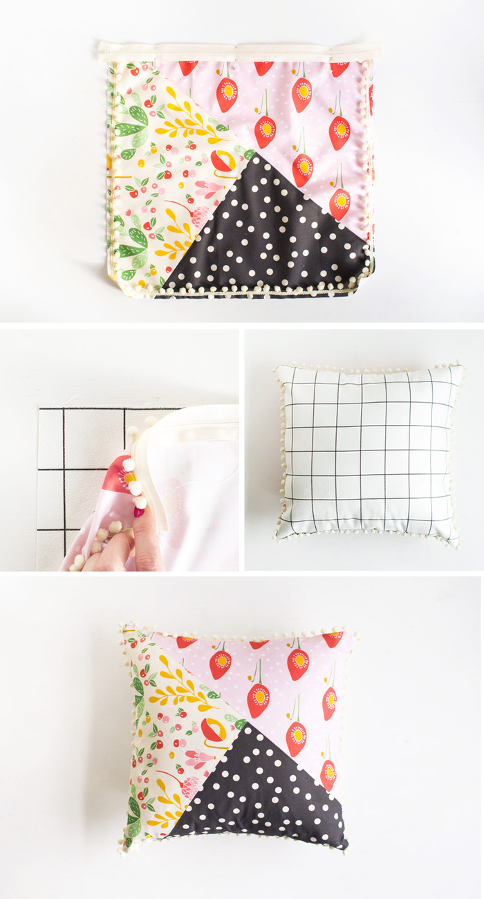 tuto couture facile pour réaliser une housse de coussin patchwork à motifs graphique et végétaux, activité manuelle fete des meres pour réaliser une housse de coussin cousue à la main