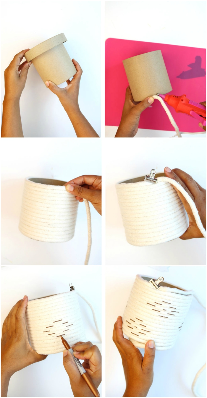 tuto pour réaliser une boîte de rangement en corde décorée avec des motifs ethnique chic colorés, idee cadeau fete des meres à petit budget à réaliser soi-même
