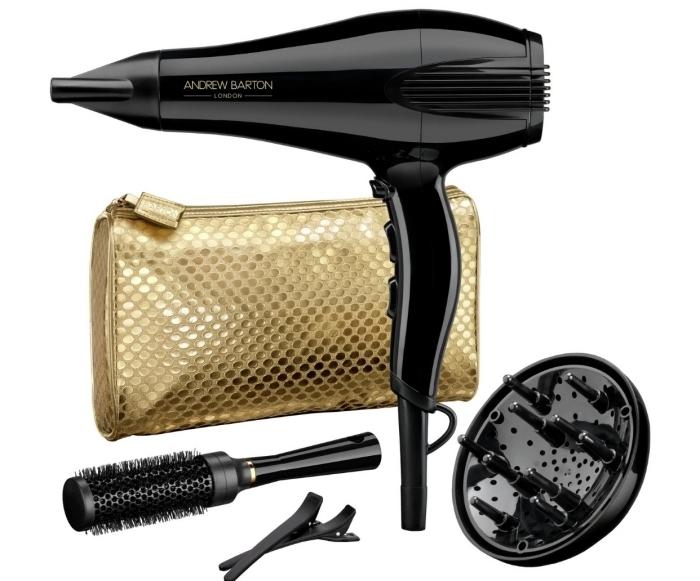 kit de produits de beauté pour soins cheveux à offrir à sa maman, sèche cheveux avec brosse noire pour soigner ses cheveux
