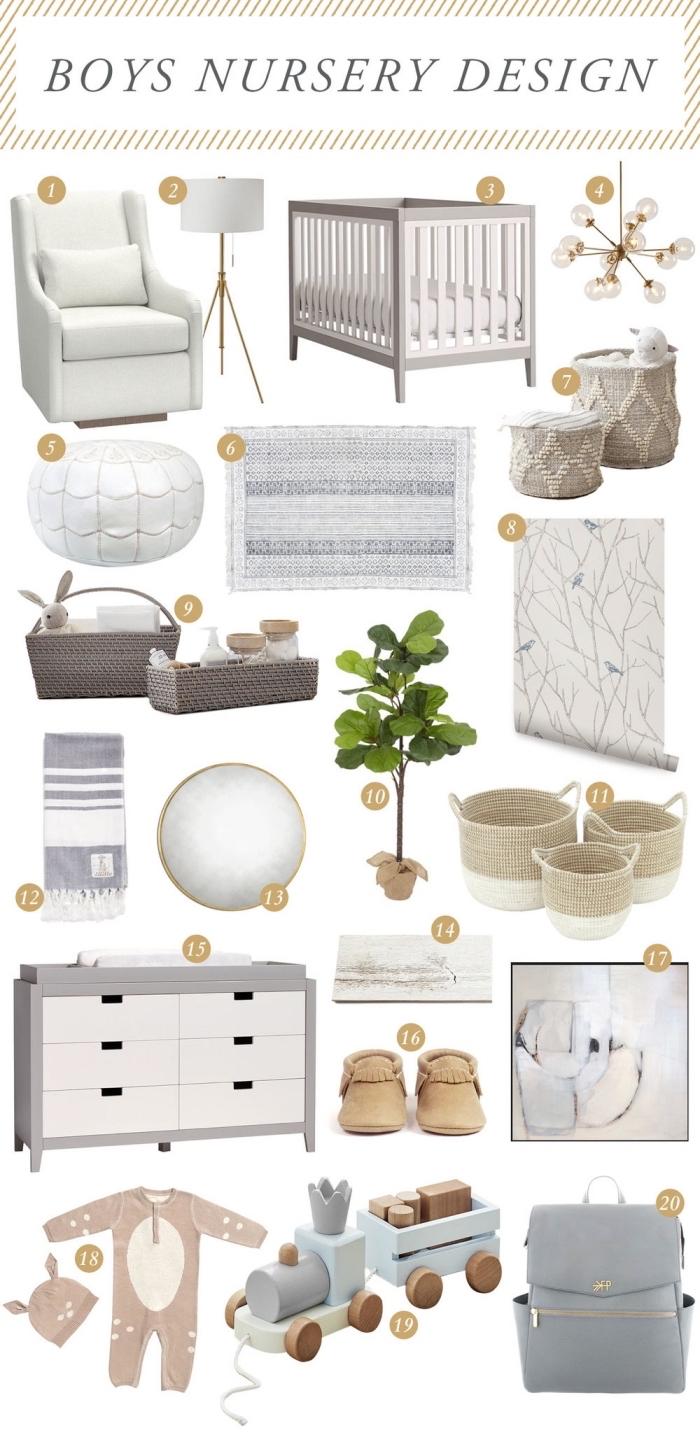 mobilier et objets pour une deco chambre garcon de style neutre, mobilier de bois clair à combiner avec accessoires en fibres végétales
