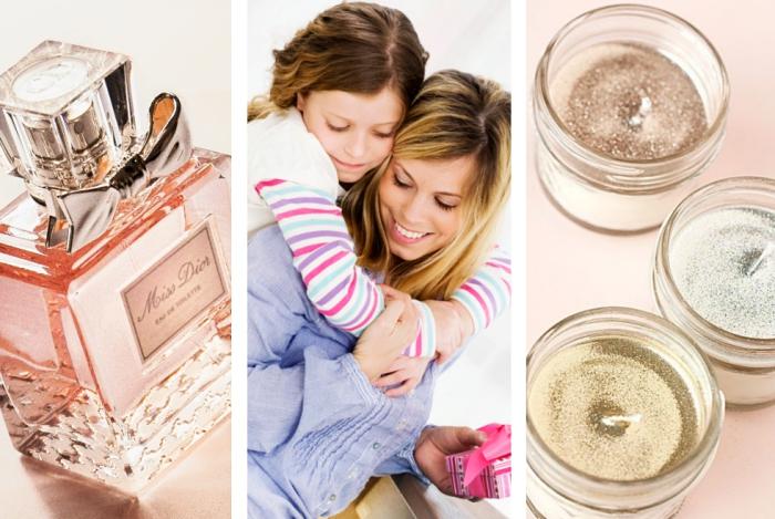 trouver un cadeau fete des meres, bouteille de parfum femme avec ruban décoratif, modèle de bougies personnalisées avec glitter