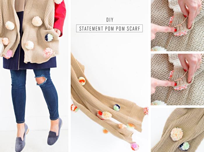 accessoire tendance mode femme, modèle d'écharpe longue en crochet beige avec déco en pompons de laine