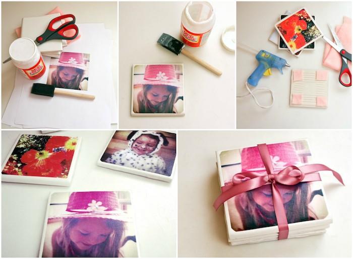 exemple de cadeau fête des mères maternelle, carreau customisé de photo pour faire un dessous de verre original