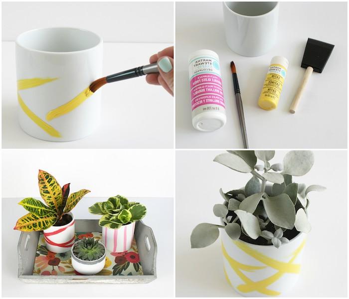 projet créatif pour customiser des pots de fleurs blancs avec des traits de peinture, idée de bricolage fête des mères maternelle
