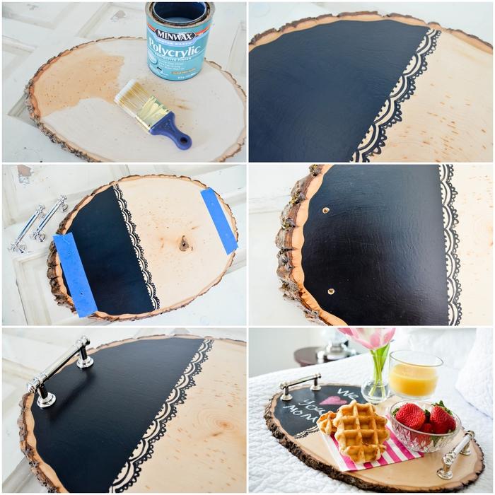 servez le petit déjeuner au lit sur un plateau en rondin de bois personnalisé à motif dentelle noire
