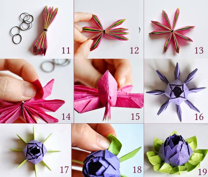 le pliage final d'un modèle d'origami fleur de lotus réalisé en papier aux couleurs vitaminées, idéal pour une déco de table fleurie