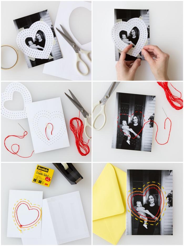 bricolage fête des mères, une carte de vœux photo noir et blanc avec cœur brodé