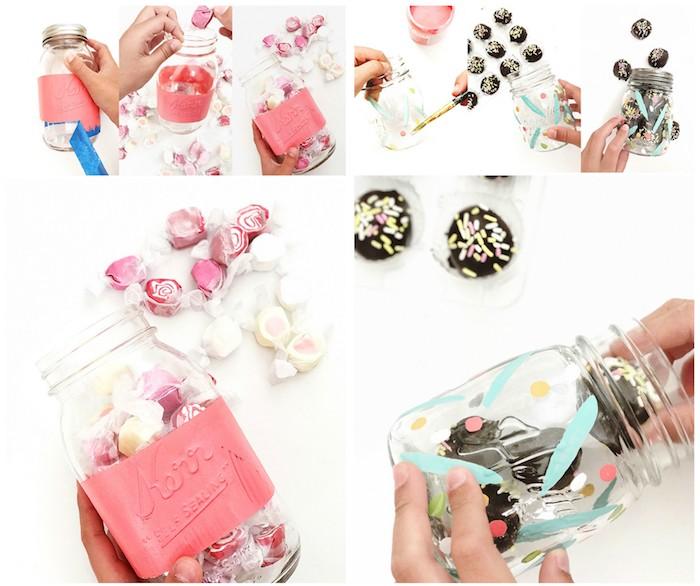 idee cadeau fete des meres, pot en verre avec repeint à motifs divers avec des bonbons et gourmandises dedans