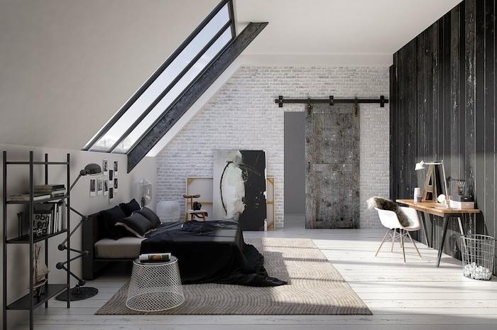 Chambre à coucher adulte moderne déco originale idée image décoration chambre gris style industriel mansarde