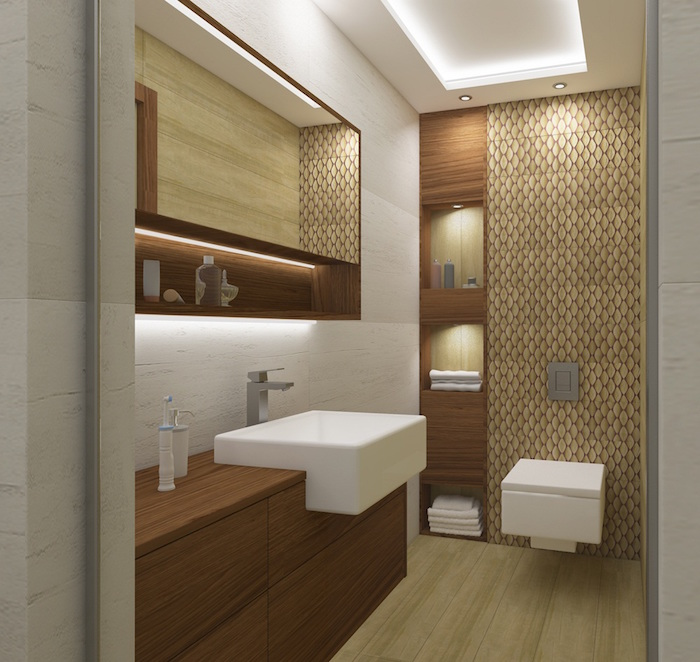 salle d'eau rénovée moderne beige et marron avec wc suspendu carré et coin douche