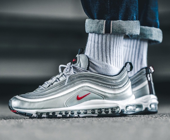 chaussure mode 2018 homme style nike air max 97 gris argent silver rétro