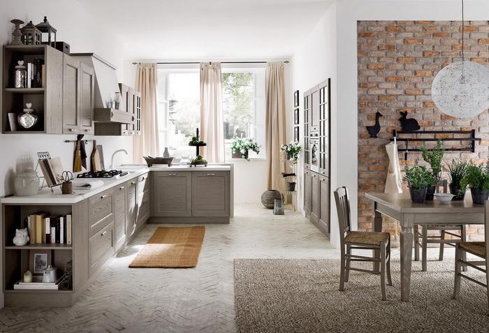 quelle couleur pour une cuisine gris taupe de style campagne chic, une cuisine conviviale aux tons neutres, ouverte sur le séjour