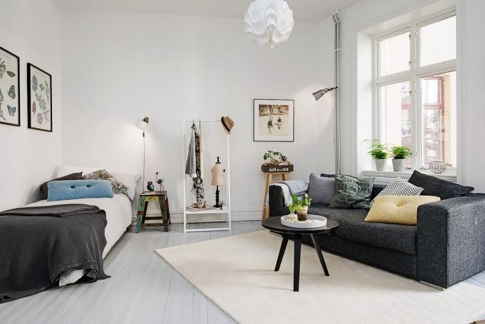 atmosphère cozy dans un petit studio étudiant avec petit lit et canapé gris anthracite avec petite table de café noire