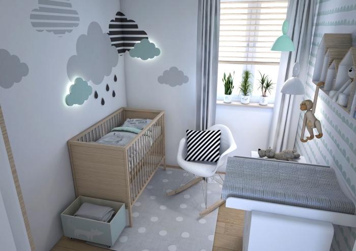 quelles couleurs associer pour une deco chambre bebe scandinave, petite chambre avec décoration murale en nuages 3D et meubles de bois clair