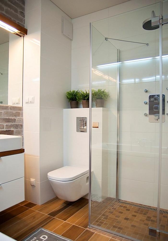 installer douche italienne dans salle de bain petite surface avec toilettes