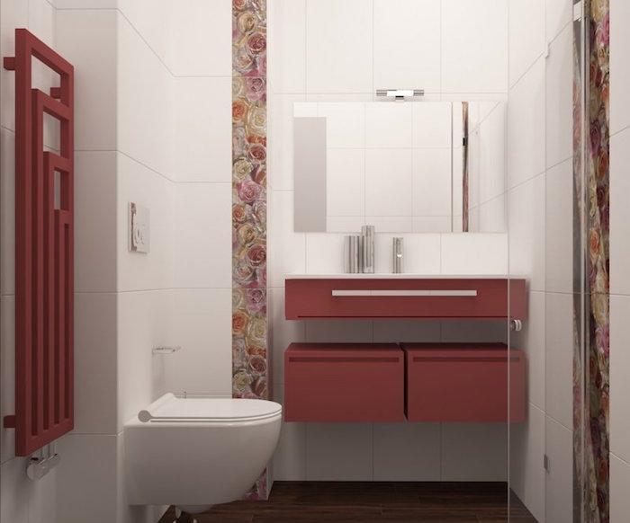 idée décoration salle de bain neuve blanc et rouge moderne avec douche toilette suspendu et lavabo mural