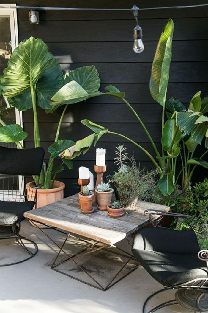 meubles de jardin, deco jardin pas cher, décorer son jardin, grandes plantes avec des grandes feuilles vertes, jardin déco bohème