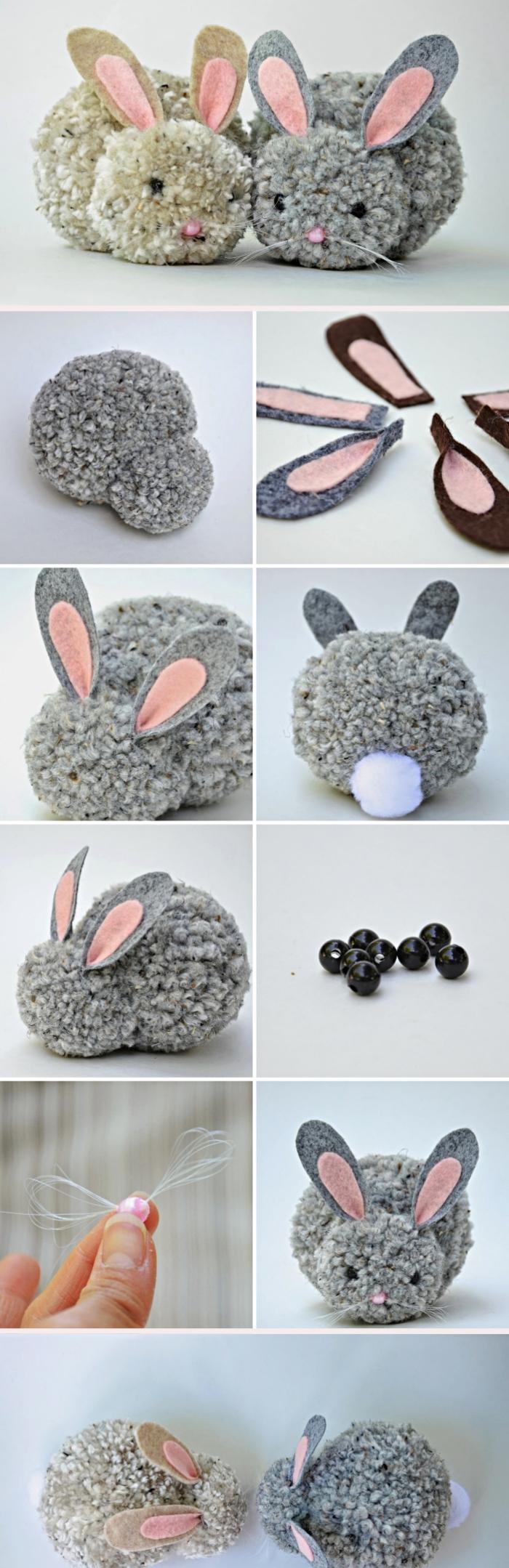 étapes à suivre pour faire des pompons en laine, couple de lapins réalisés à partir de boules de laines beige et gris
