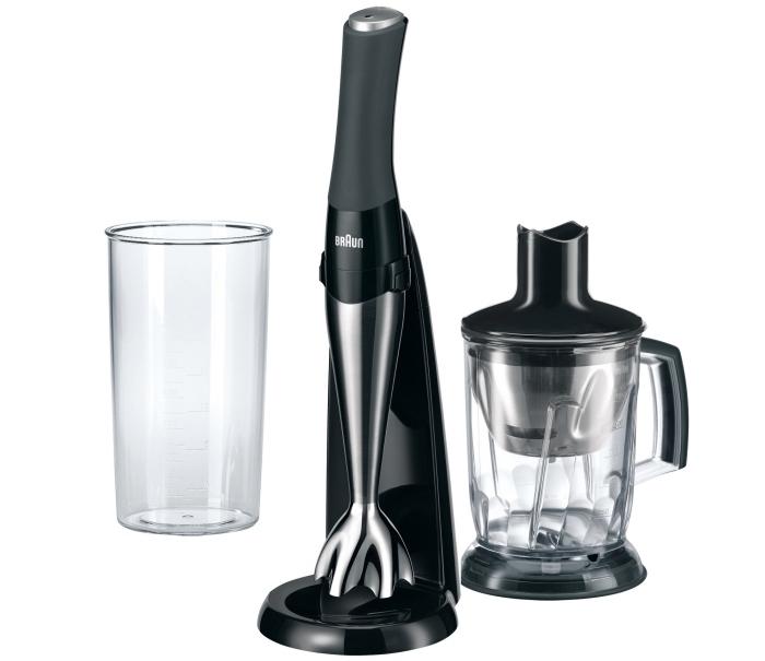 ustensiles de cuisine à design high-tech à offrir à une femme pour faciliter les tâches ménagères, mixeur de cuisine gris et noir mate