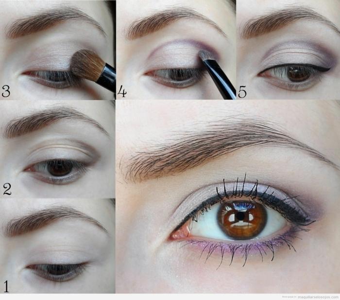 créer un maquillage facile, les étapes pas à pas pour créer un maquillage quotidien en lilas et gris
