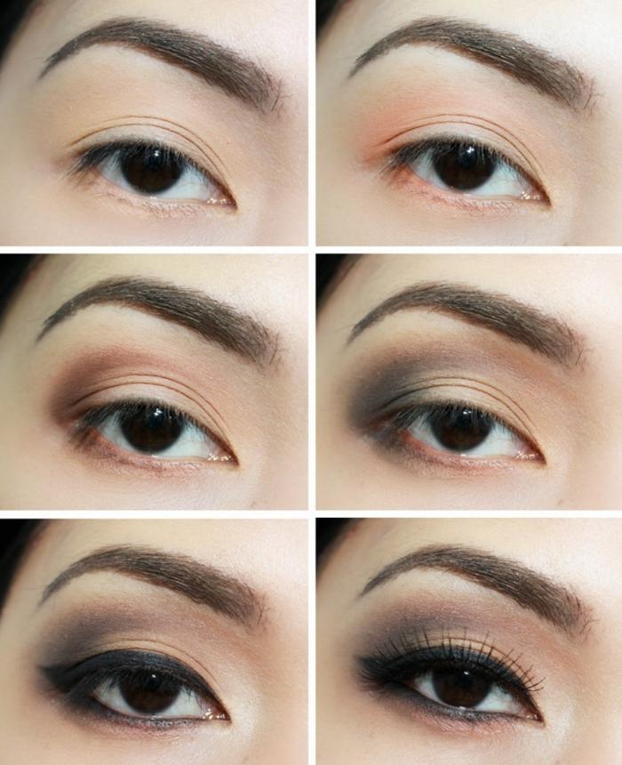 yeux marron maquillés avec du pêche et du gris, astuce maquillageyeux marron