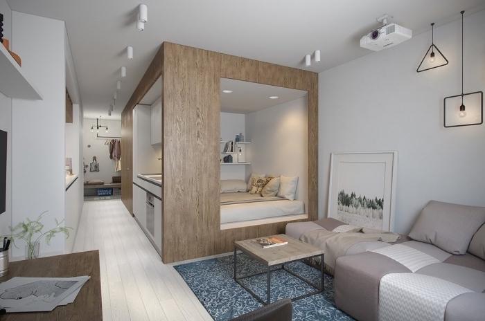 cube fontcionnel pour une deco petit appartement réussi avec espace intime pour dormir équipé d'un lit et étagères murales