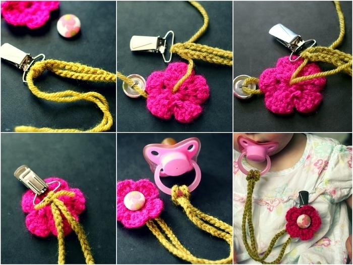 joli attache tetine fleur au crochet en jaune moutarde et rose fuchsia, idéal pour un cadeau de naissance personnalisé