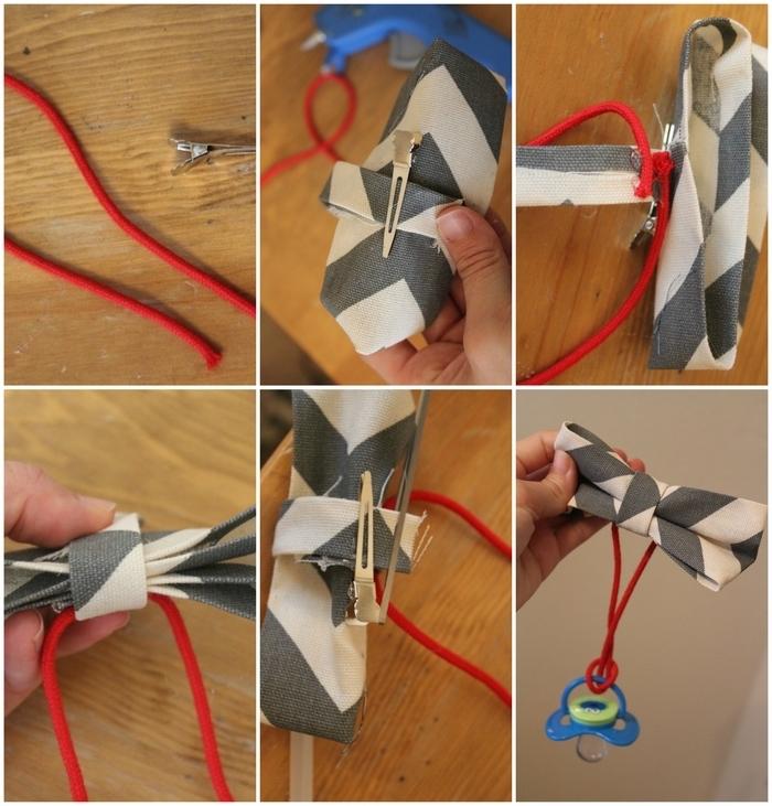 tuto pour réaliser un attache sucette personnalisé avec un noeud papillon cousu à la main