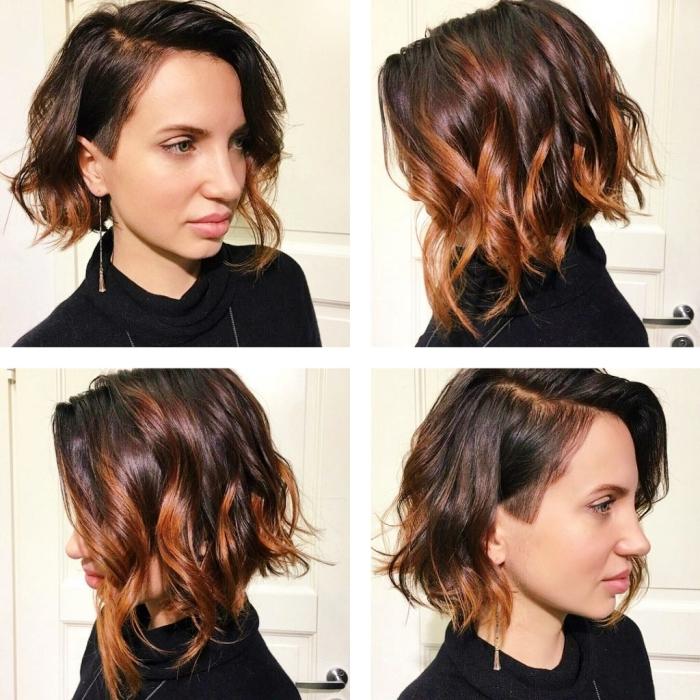 idée comment styliser une coupe de cheveux carré de coloration balayage avec boucles à effet naturel wavy