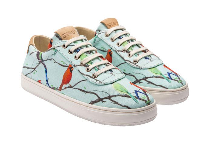Magnifique chaussure basket femme basket scratch femme comment s habiller aujourd hui chouette imprimé oiseaux et branches