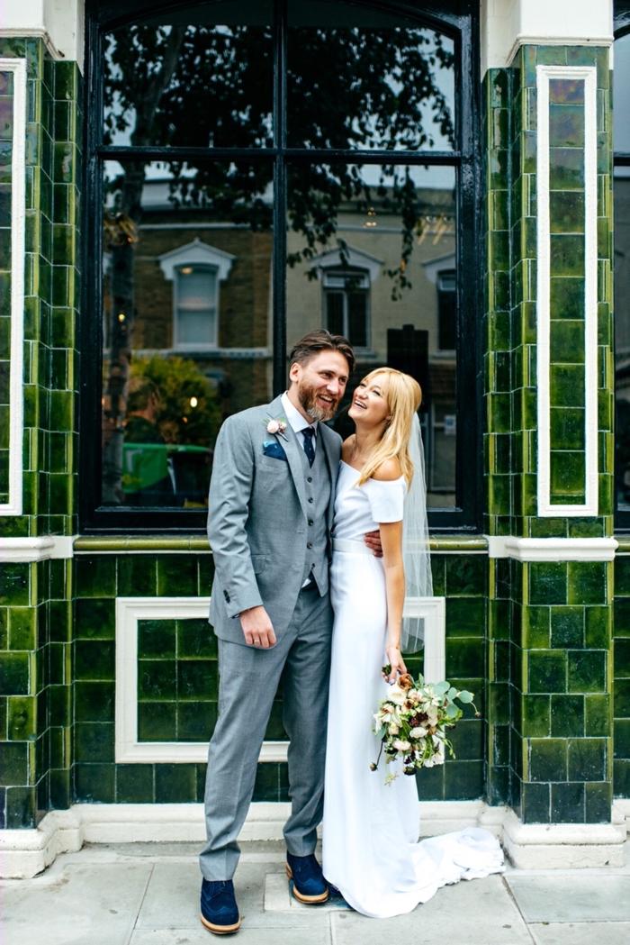 Élégante robe empire mariage robe de mariée 2018 boheme choisir la plus belle robe manche courte épaules dénudées robe de mariee blanche