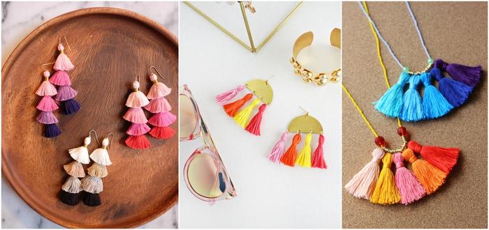 des bijoux personnalisés à houppes colorés de style ethnique chic, idee cadeau fete des meres pour lui offrir un accessoire unique